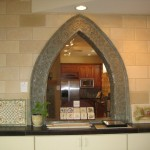 Gothic showroom arch with acantha leaves